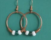 Solid copper hoop earrings, dangle - copper jewelry - copper earrings - big earrings - CLEARANCE