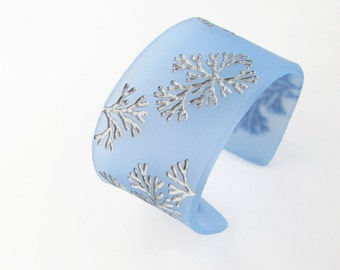 Engraved Cuff Bracelet, Blue Bird Blue, Modern Plexiglass, Frost Jewelry, Nature Jewelry, Small