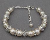 Bridal Ivory Pearl Rhinestone Bracelet Romantic Wedding Bridesmaid Jewelry