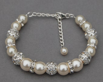 Bridal Ivory Pearl Rhinestone Bracelet Romantic Wedding Bridesmaid Jewelry