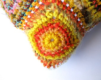 Johnny square decorative pillow, multicolor in yellow and red