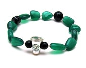 Green and Black Coffee Lover Beaded Bracelet Coffee Take Out Bracelet