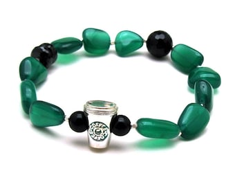 Green Onyx and Black Spinel Beaded Stretch Bracelet, Coffee Lover Bracelet, OOAK, For Her Under 250