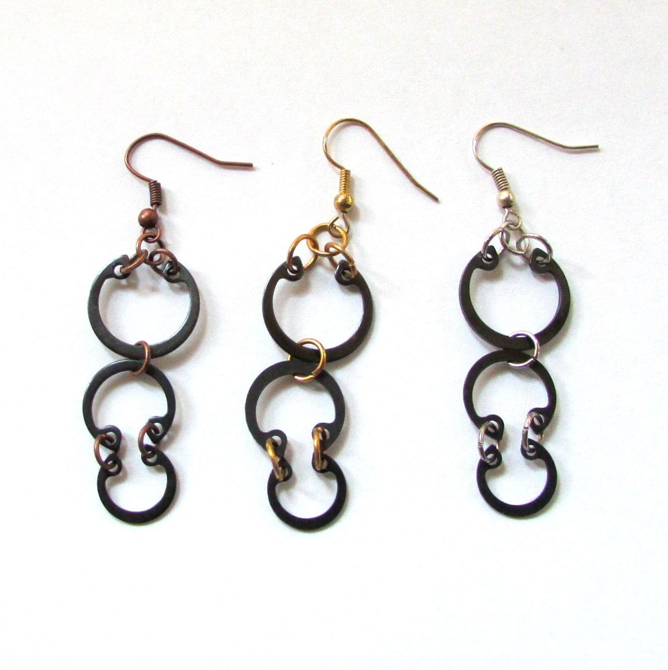 industrial earrings black metal earrings hardware earrings