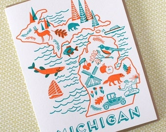 Michigan Letterpress Greeting Card