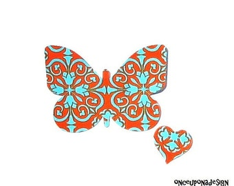 Butterfly & FREE Heart...Fabric Iron On Appliques