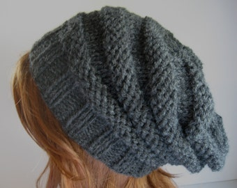Slouchy Knit Hat,  Knit Chunky Hat, Beehive Slouchy Hat - Charcoal Gray