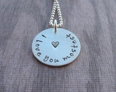 I Love You Mostest Necklace With Stamped Heart Hand Stamped Personalized Sterling Silver Jewelry