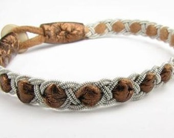 Copper Kyra Style Sami Bracelet - Leather Wrap Tin Metal Thread Braided Bracelet with Reindeer Leather and Antler Button Clasp