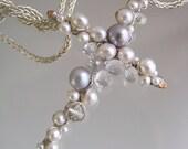 Pearl Cross, Silver Cross Pendant, Encrusted, White Topaz Crucifix, Religious Jewelry, Gemstone Cross Neckace. Original Design. Signature