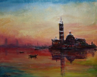 Venice in Twilight - Original Oil