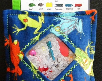 I Spy Bag - Mini with SEWN Word List and Detachable PICTURE LIST- Colorful Frogs