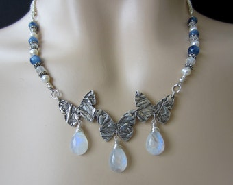 "Handcrafted Sterling Silver Butterflies, Rainbow Moonstone, Kyanite - ""Butterfly Bliss"" by Carol Ann Bosek"