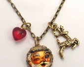 Santa and Reindeer Charm Necklace Happy Holiday's with a vintage Jolly St. Nick