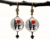 Love Letters 15mm Round Earrings Valentine or Anytime