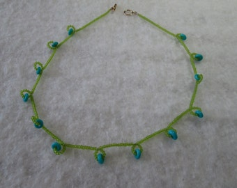 Lime and Seafoam Glass Necklace