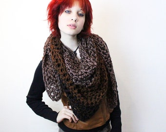 My Love Rasta chunky lace cowl scarf open end Vegan Boho Wood black espresso taupe