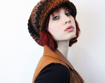 Wood Rasta Love chunky oversized Beret Hat slouch black espresso taupe brown