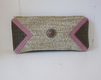 Wool Boucle & Leather Clutch by Tiny Marie Olive Brown Purple/Pink