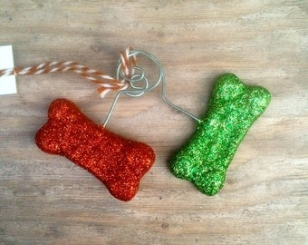 Set of Two Glitter Dog Bones in Red and Green Christmas Folk art Ornament