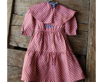 Vintage Pink Polka Dot Pleated Cotton Doll Dress