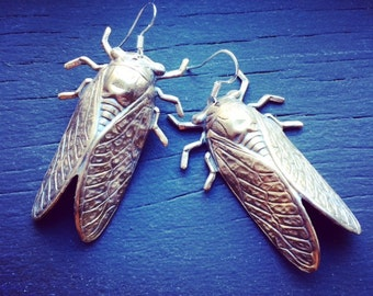 SUMMER SONG  bronze and sterling cicada dangle earrings