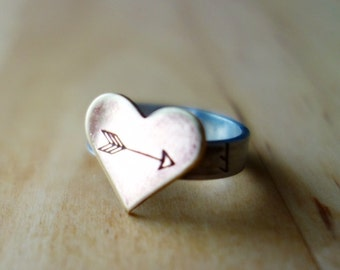 I'M WITH CUPID  Bronze and sterling silver heart arrow Valentine ring