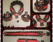 Black N Red Collar & Cuffs