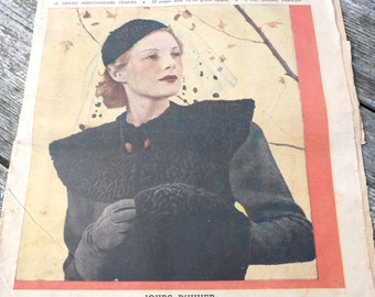 Vintage Antique old French 1937 publication fashion issue Le petit echo de la Mode