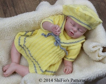 KNITTING PATTERN For Baby Sailor Dress & Beret PDF186 Digital Download