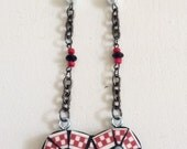 Mosaic Heart Necklace Red & White