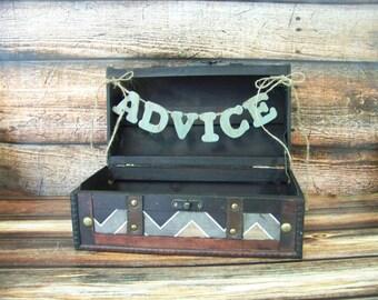 Chevron Wedding Card or Advice Box with Painted Banner, Advice Box, Wedding Decor, Wedding Trunk
