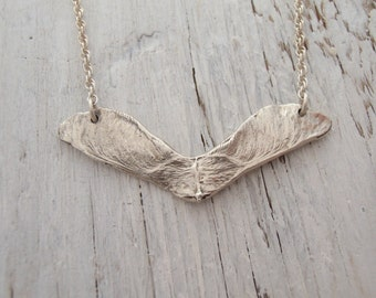Autumn Samara maple seed necklace in sterling silver