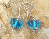 Deep Blue Sea Heart Earrings .. handmade glass and sterling silver .. UK SRA