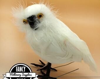 1 - Large - White Feather Owl - Fake Bird - Artificial Bird -  Feathers - Christmas Bird - Tree Ornament
