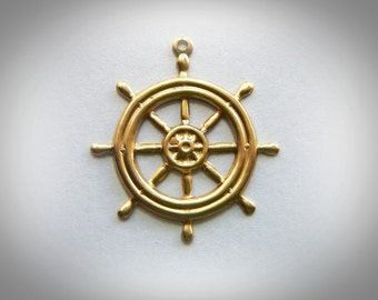BRASS (10 Pieces) Nautical Ship Wheel Brass Charms - Stampings - Jewelry Findings (G) #