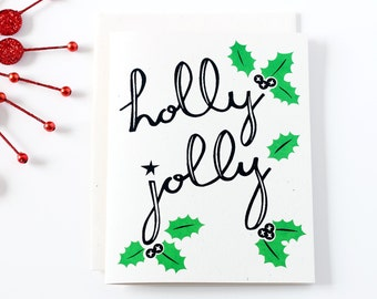 Vintage Style Holiday Card / Holly Jolly / Retro Christmas Card / Hand Lettering / Screen Printed