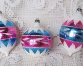 Vintage 1960's Set Of 3 Pink And Blue Ornaments With Mica, Poland