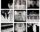 Disounted Set of Nine (9) Photographs, Cabaret, Black and White Photography, 9 Prints, Dark Art, Home Decor, Bedroom Decor, Halloween