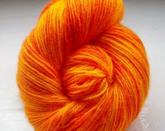 Hand painted yarn 100g. fine mohair laceweight bright flame orange