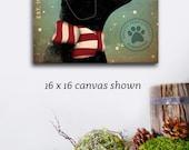 Black Dog Mistletoe Company graphic illustration on canvas winter holiday art by stephen fowler