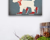 Doodle Labradoodle goldendoodle dog skating winter holiday illustration graphic art on gallery wrapped canvas by stephen fowler