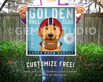 Golden Retriever Dog Football Club art giclee archival signed print by stephen fowler