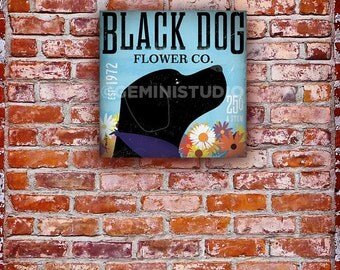 Black Dog Labrador retriever lab flower company graphic illustration on gallery wrapped canvas by Stephen Fowler