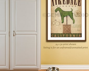 Airedale Terrier Dog Topiary garden illustration graphic art giclee print by stephen fowler UNFRAMED