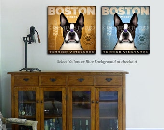 Boston Terrier dog Wine winery Company illustration gallery wrap on gallery wrapped canvas by stephen fowler