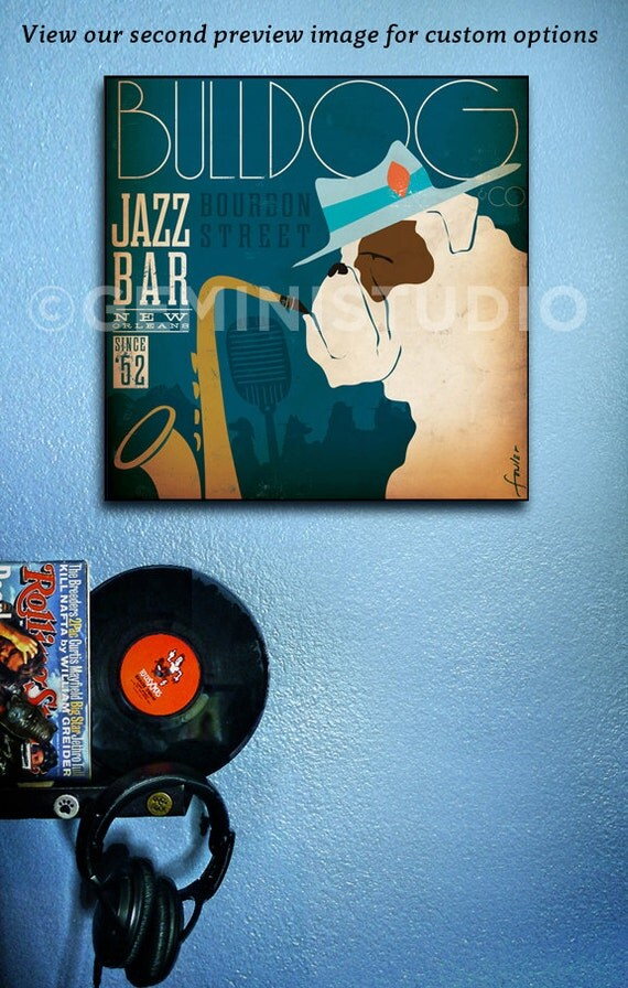 Bulldog Jazz Bar dog graphic illustration on gallery wrapped canvas by Stephen Fowler