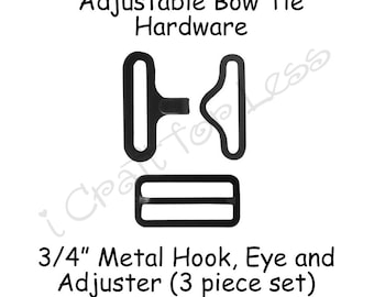 "200 Bow Tie Hardware Supplies Clips - 3/4"" Rectangle Slide Adjuster, Hook and Eye - Black Metal - SEE COUPON"