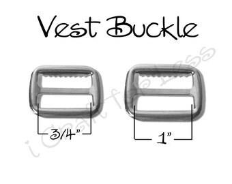 """10 Metal 3/4"""" or 1"""" Vest Buckle / Adjustable Suspender Slide with Teeth - Nickel Plated - SEE COUPON"""