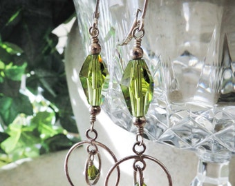 SALE - Sterling Silver Boho Contemporary Dangle Earrings - Olive Olivine Green Double Ring Circles Polygon Swarovski Crystal Earrings